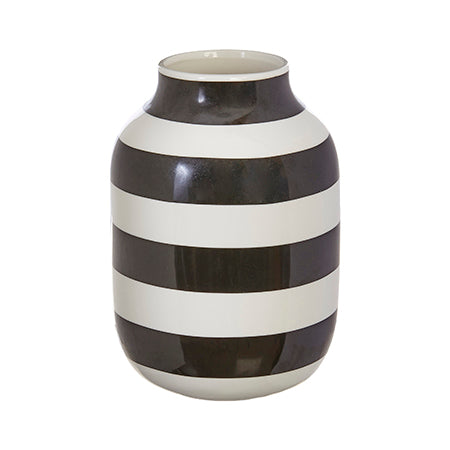 Medium Black and White Striped Vase