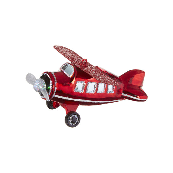 Red Glitter Airplane Ornament