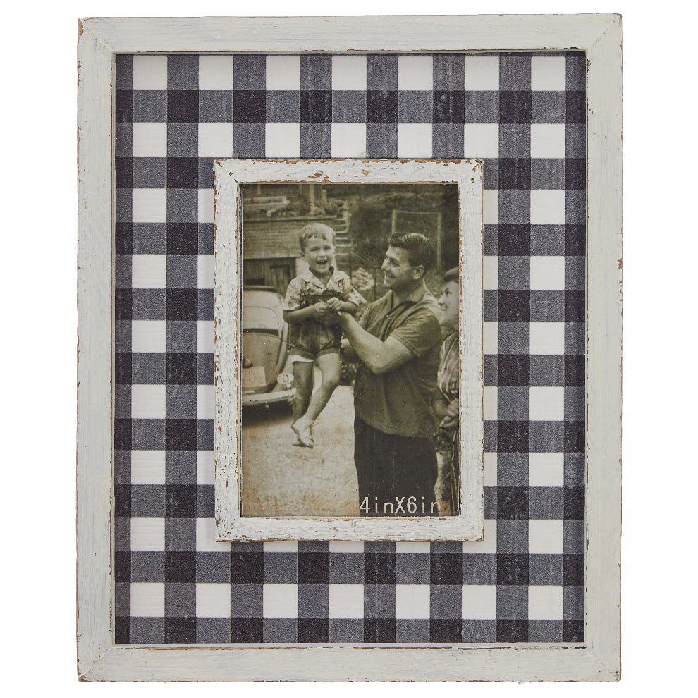 Distressed Checkered Picture Frame