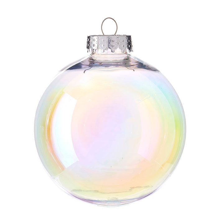 Set of 4 Clear Iridescent Ball Ornaments