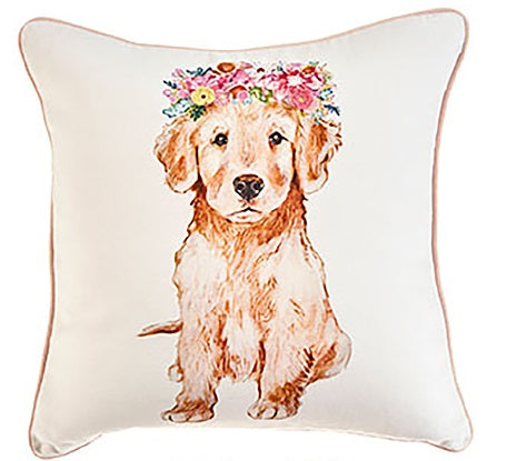 Puppies with Flower Crown Pillows
