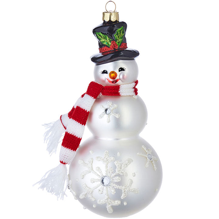 Snowman with Scarf and Top Hat Ornament