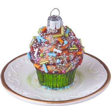 Cupcake on Plate Ornament