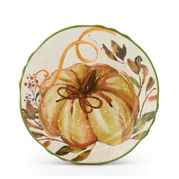Pumpkin with Leaves Scalloped Plate