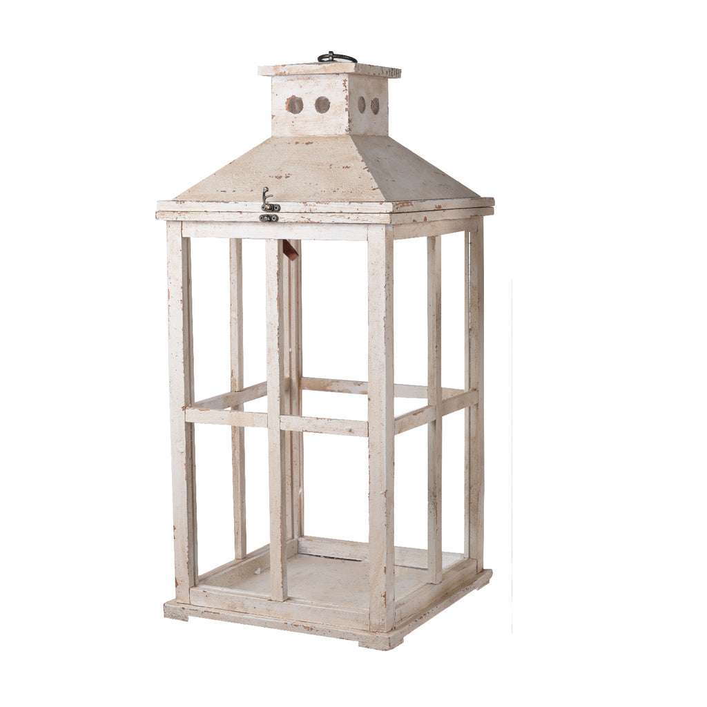 White Distressed Lantern Large