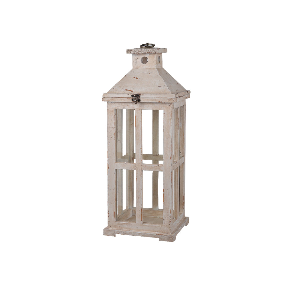 White Distressed Lantern Small