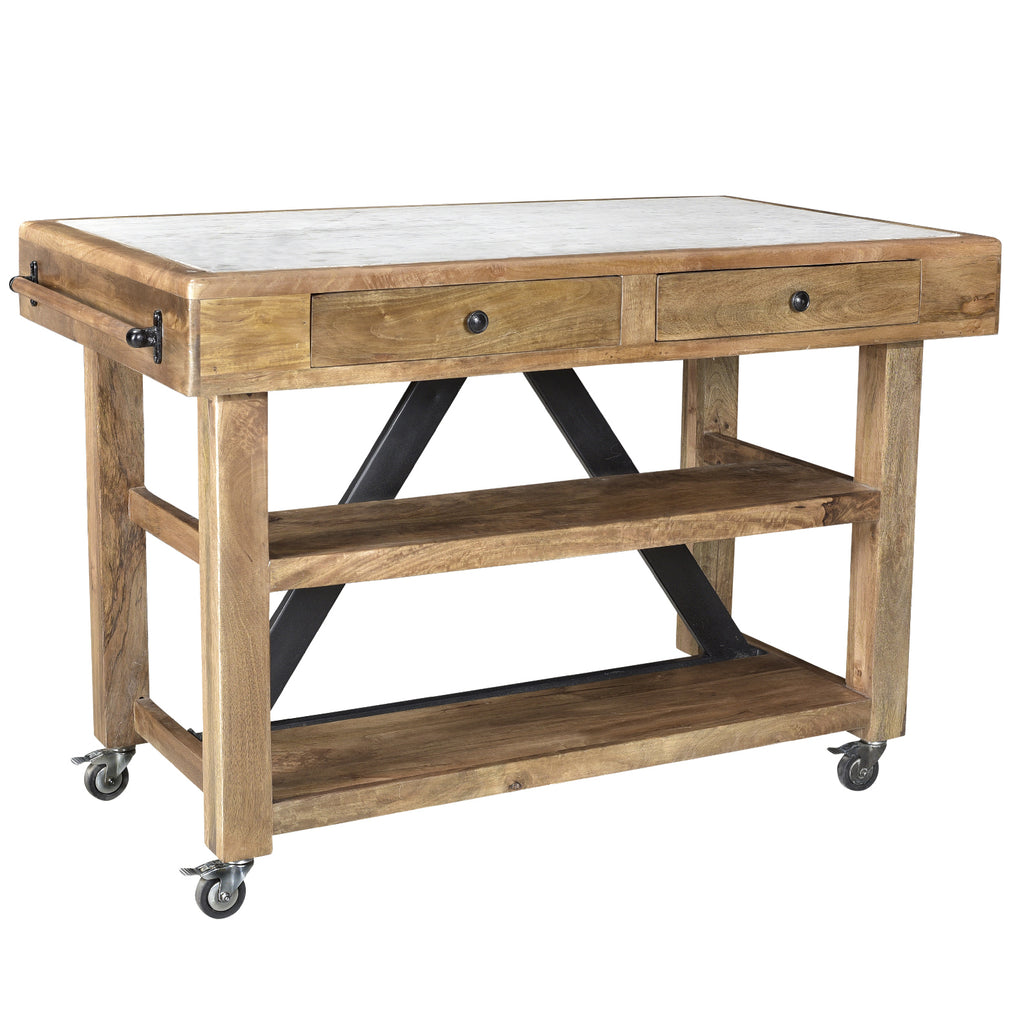 Marchiano Kitchen Island with Marble Top