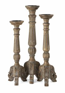 Distressed Wooden Candleholders