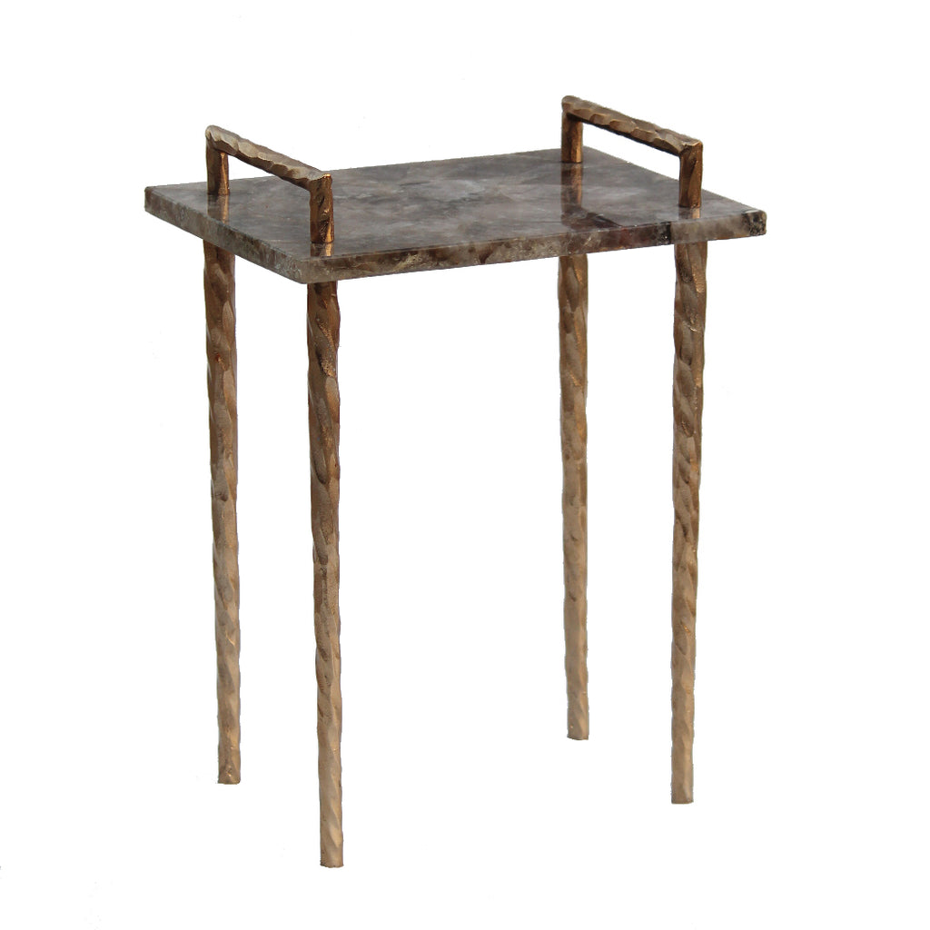 Hammered Metal and Agate Side Table
