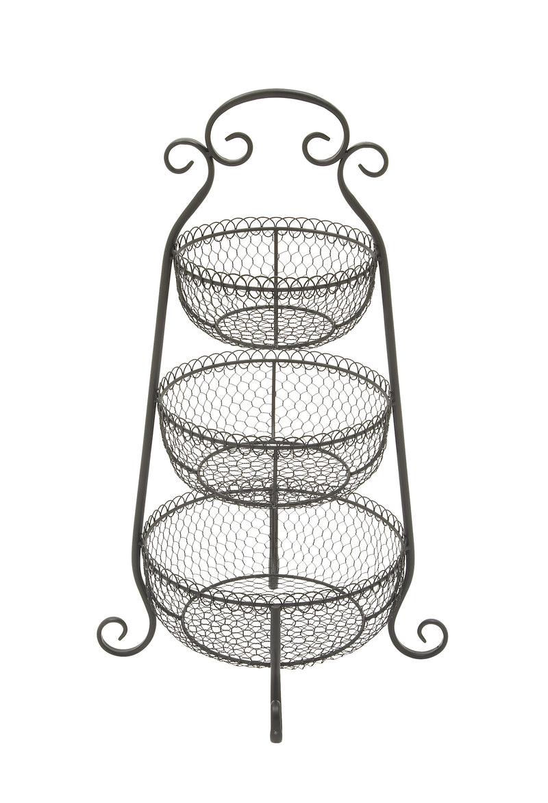 Three Tier Black Metal Baskets