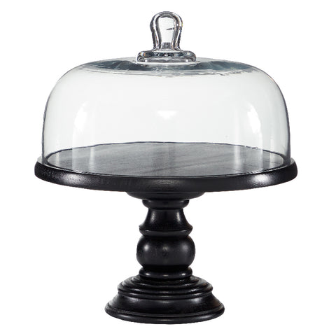 Glass Cloche on Wooden Pedestal