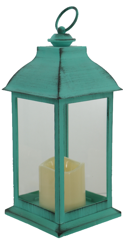 Teal Lantern with Timer