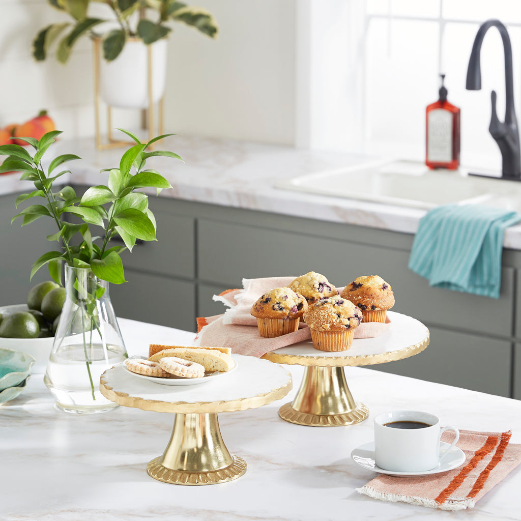 Marble Gold Aluminum Cake Stand