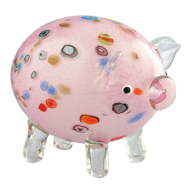 Multicolored Glass Pig