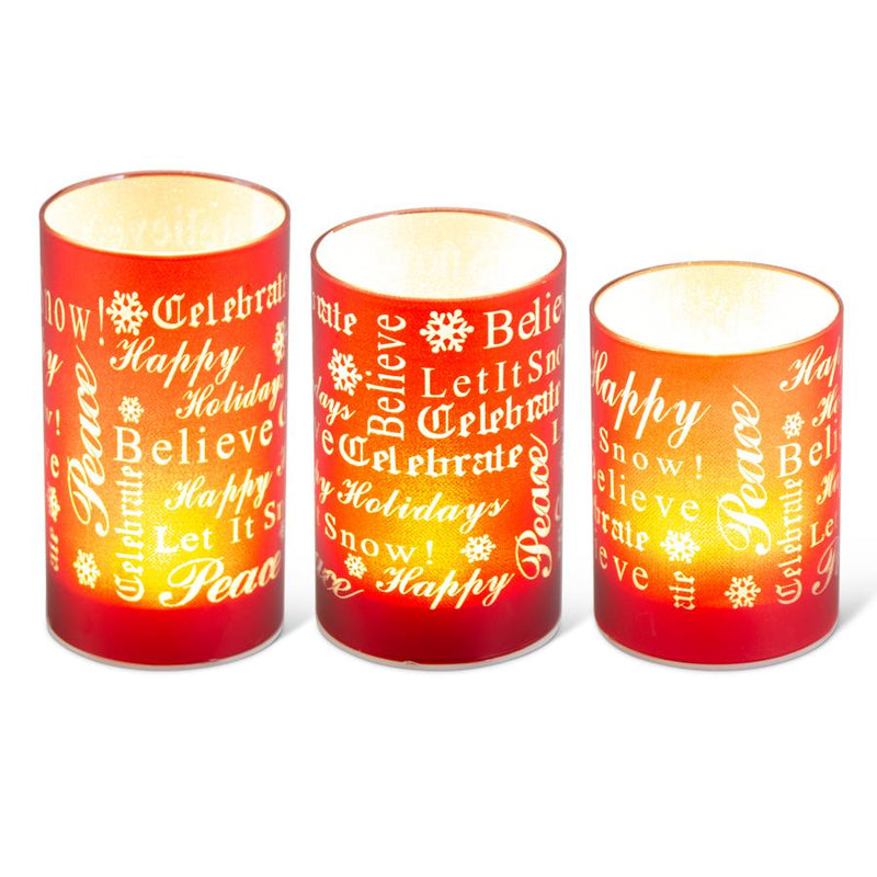Red Holiday Message Candles