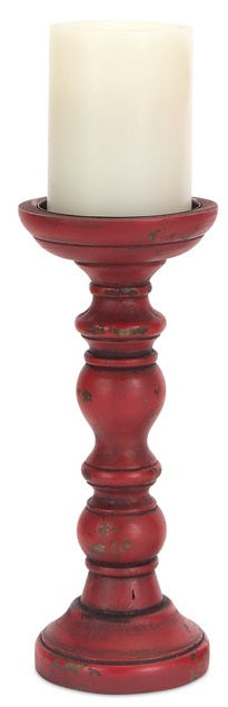 Distressed Red Antiqued Candlestick