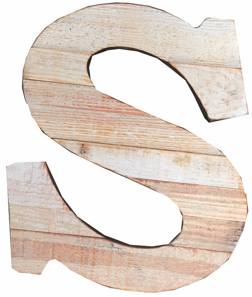 Pine Wood Letter S
