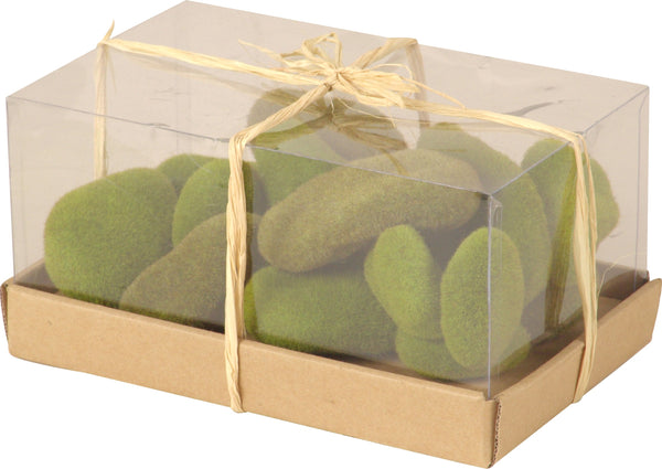 Box of Moss Green Fuzzy Stones