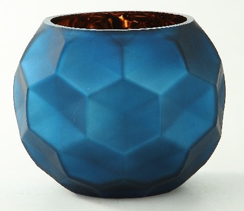 Metallic Blue Rose Bowl