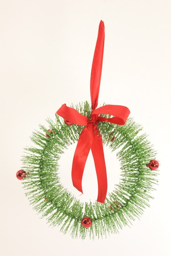 Red and Green Bottle Brush Wreath