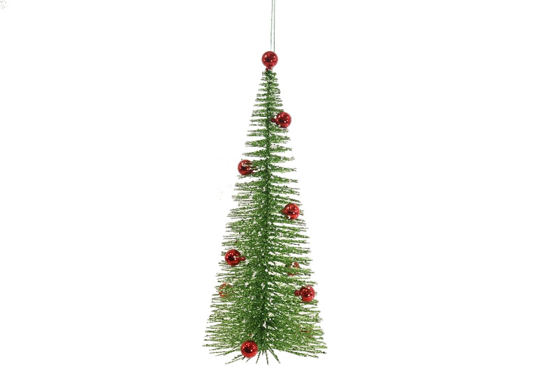 Green and Red Bottle Brush Tree Ornament