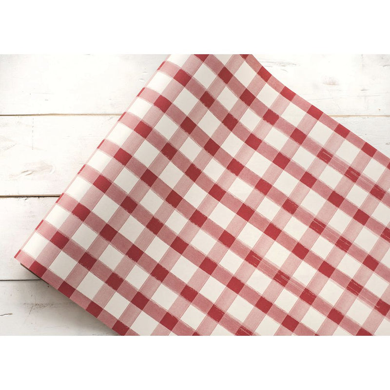 Red and White Check Paper Runner