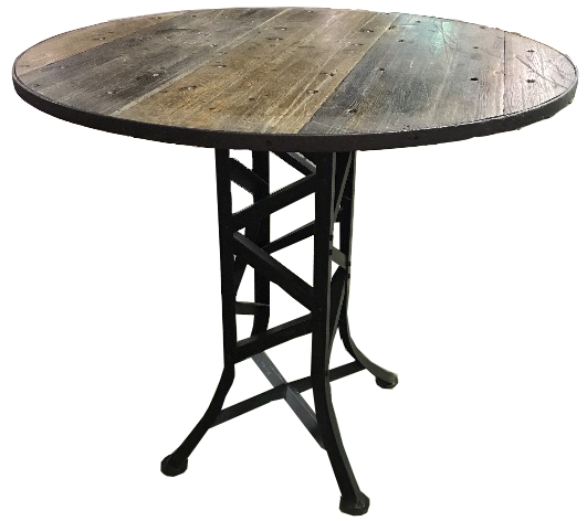 18-Wheeler Top Bar Table with Iron Base