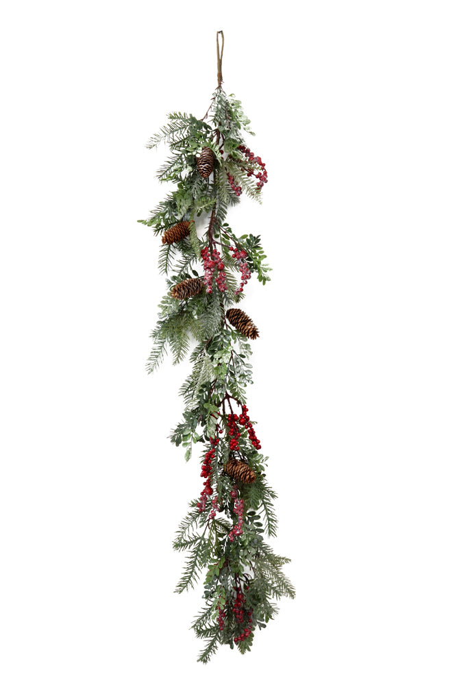Pine Garland with Pinecone Berries and Frost