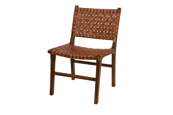 Brown Teak Leather Woven Side Chair