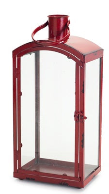 Red Metal and Glass Lantern
