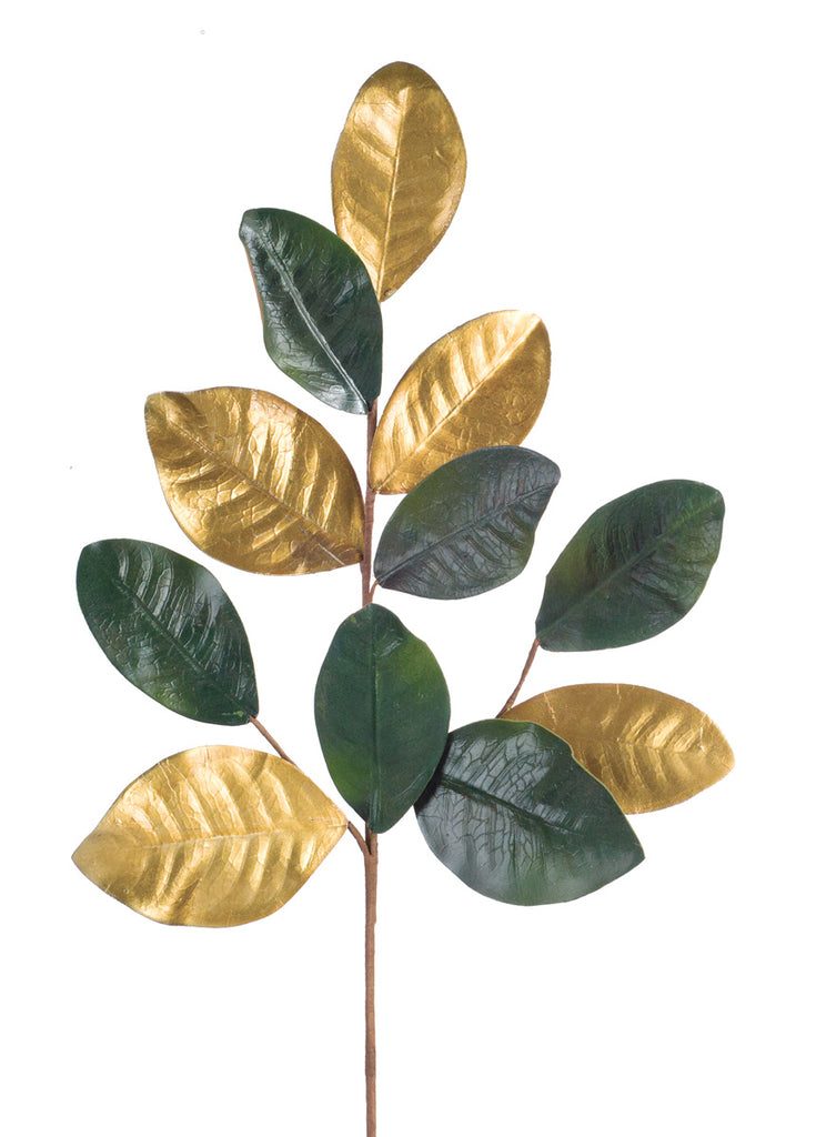 Green and Gold Magnolia Leaf Spray