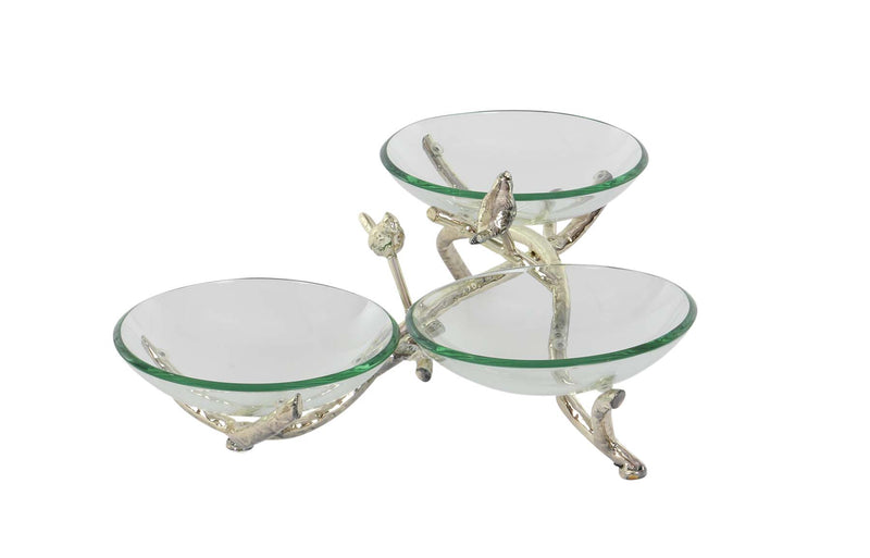 Glass Bowls on Metal Twig Stand