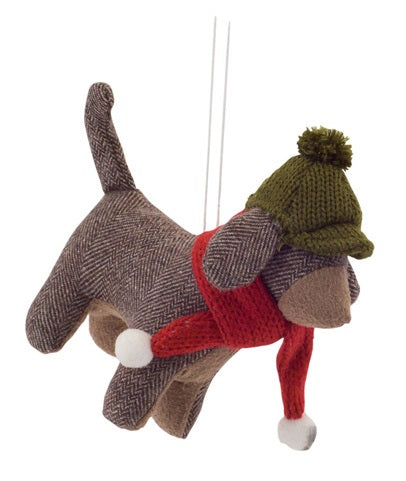 Plush Bundled Up Pup Christmas Ornaments