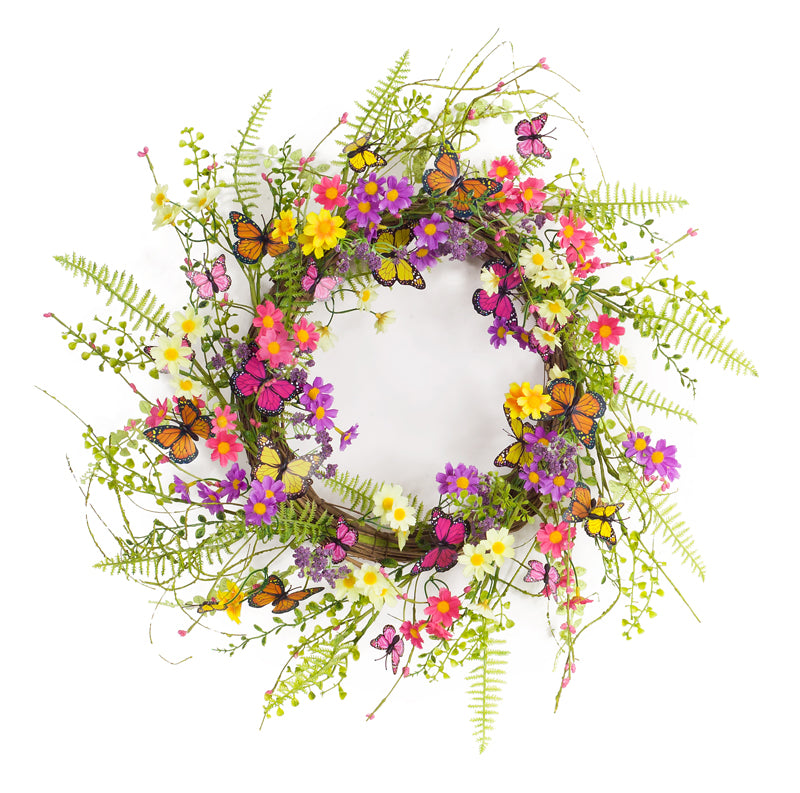 Butterfly Floral Wreath