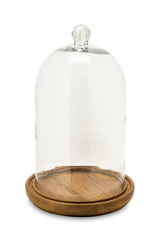 Wood and Glass Cloche Stand