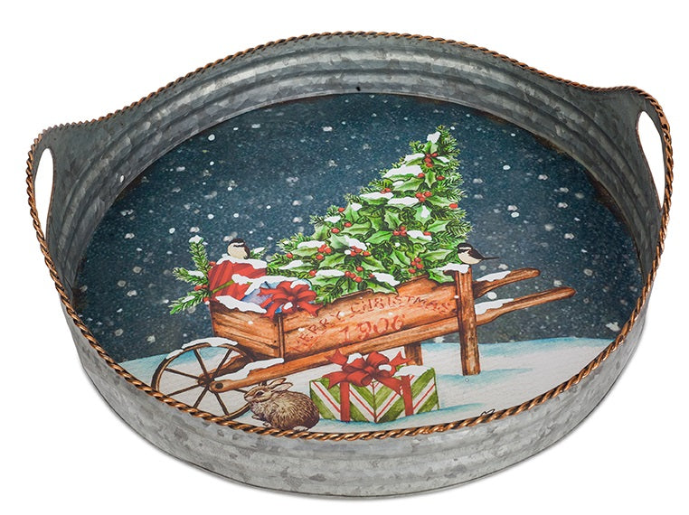 Metal Tray with Christmas Scene
