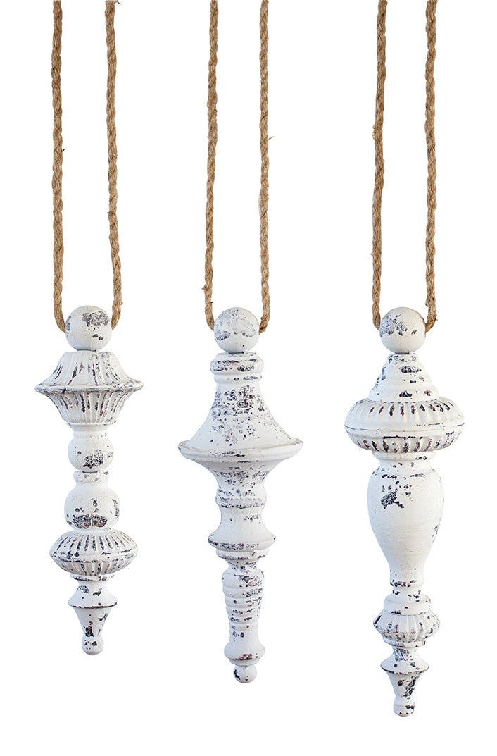 Antiqued White Drop Ornament