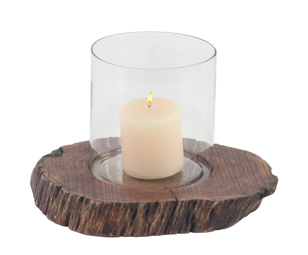 Rustic Mango Wood Glass Candleholder