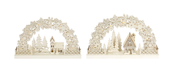 Lit House and Church with Arch Scenes