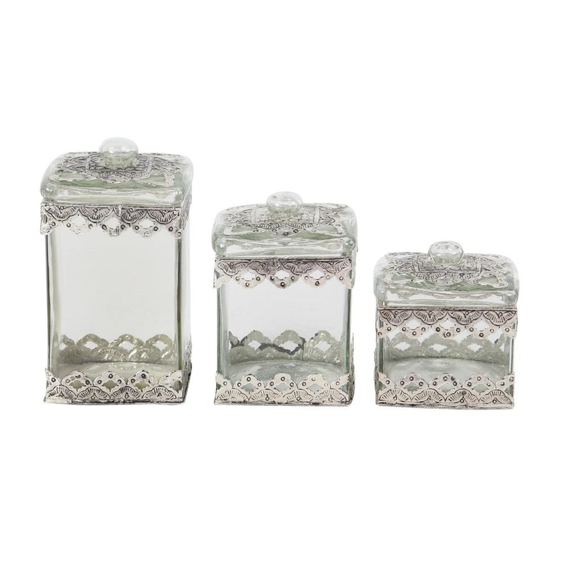 Ornate Metal Studded Square Boxes