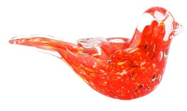 Candy Red Glass Bird