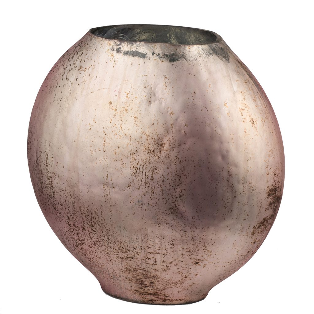 Iridescent Rose Copper Glass Vase