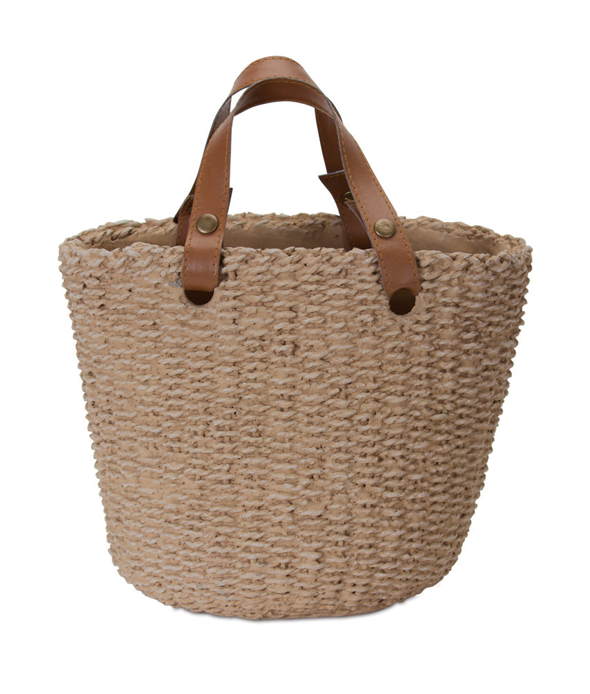 Cement Basket Planter with Handles