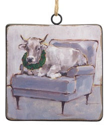 Cow in Chair Ornaments