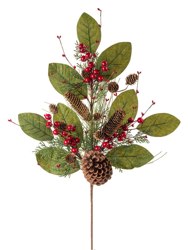 Pinecone Berry and Leaf Spray
