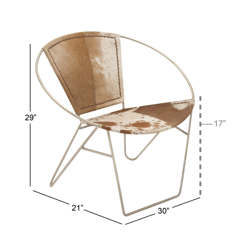 Cowhide and Metal Ring Chair