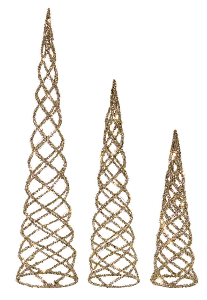 Lit Champagne Wire Tabletop Tree Forms