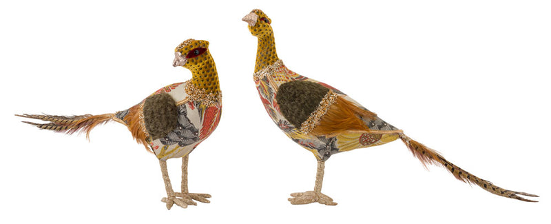 Set of Two Upholstered Pheasants