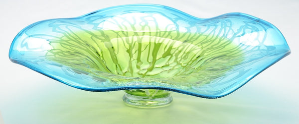 Green and Blue Fluid Glass Plate