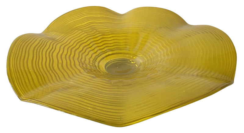Yellow Striped Fluid Glass Plate